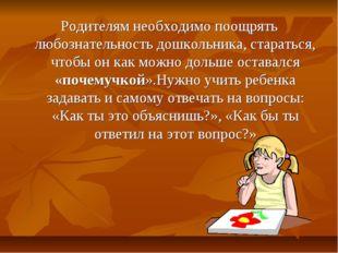 Родителям необходимо поощрять любознательность дошкольника, стараться, чтобы