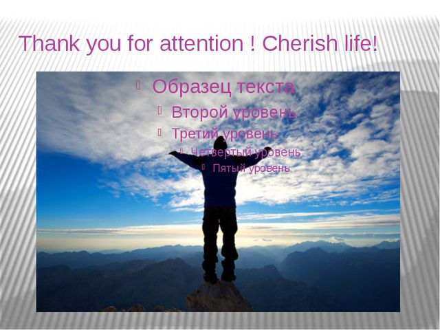 Thank you for attention ! Cherish life!
