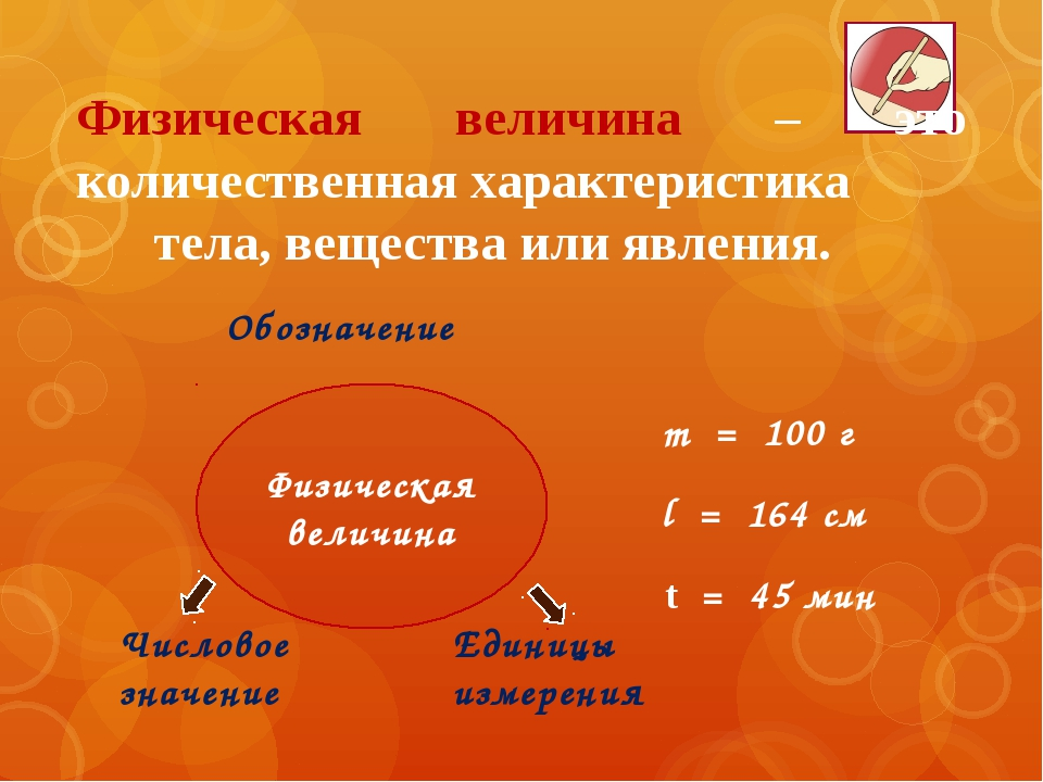 m = 100 г l = 164 см t = 45 мин Обозначение Числовое значение Единицы измерен...