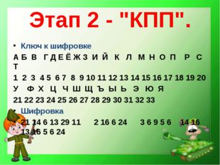 """Этап 2 - """"КПП"""". Ключ к шифровке А Б В Г Д Е Ё Ж З И Й К Л М Н О П Р С Т 1 2 3"""