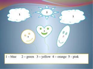 1 1 3 4 2 5 1 – blue 2 – green 3 – yellow 4 – orange 5 - pink