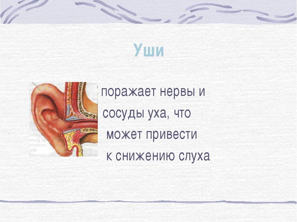 Уши - поражает нервы и сосуды уха, что может привести к снижению слуха