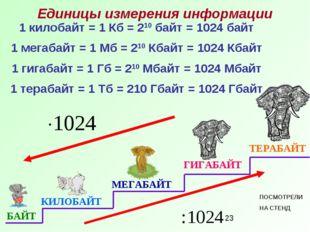 1 килобайт = 1 Кб = 210 байт = 1024 байт 1 мегабайт = 1 Мб = 210 Кбайт = 1024
