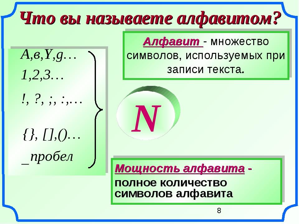Мощность алфавита - полное количество символов алфавита Что вы называете алфа...