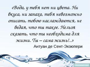 «Вода, у тебя нет ни цвета. Ни вкуса, ни запаха, тебя невозможно описать, то