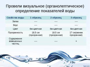 Провели визуальное (органолептическое) определение показателей воды Свойства