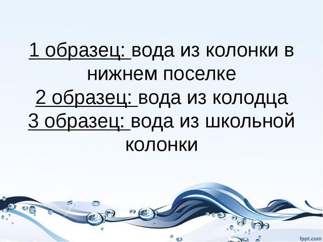 1 образец: вода из колонки в нижнем поселке 2 образец: вода из колодца 3 обра...