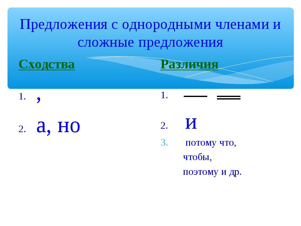 Предложения с однородными членами и сложные предложения Сходства 1. , 2. а, н...