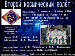 Эмблема 15-й основной экспедиции на ОК «Мир» Позывной: «Дербент-1» Дата полёт
