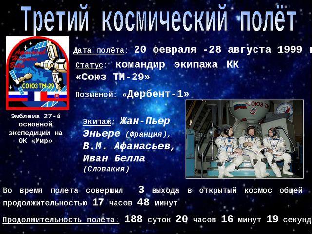 Эмблема 27-й основной экспедиции на ОК «Мир» Позывной: «Дербент-1» Дата полёт...