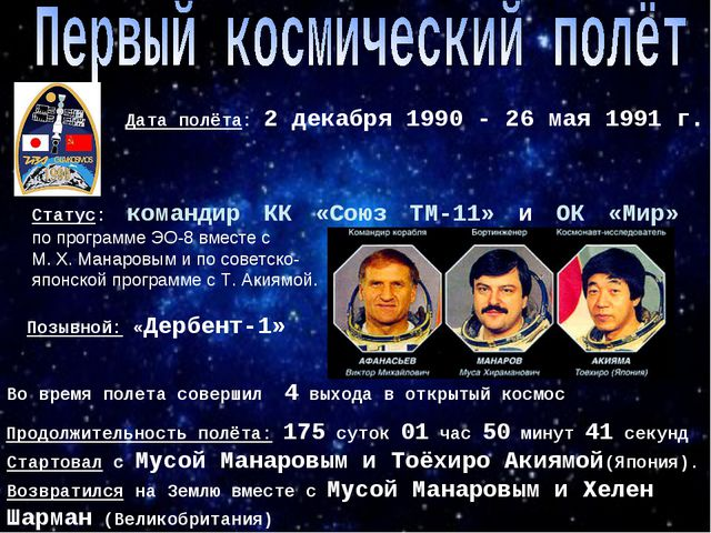 Дата полёта: 2 декабря 1990 - 26 мая 1991 г. Статус: командир КК «Союз ТМ-11»...
