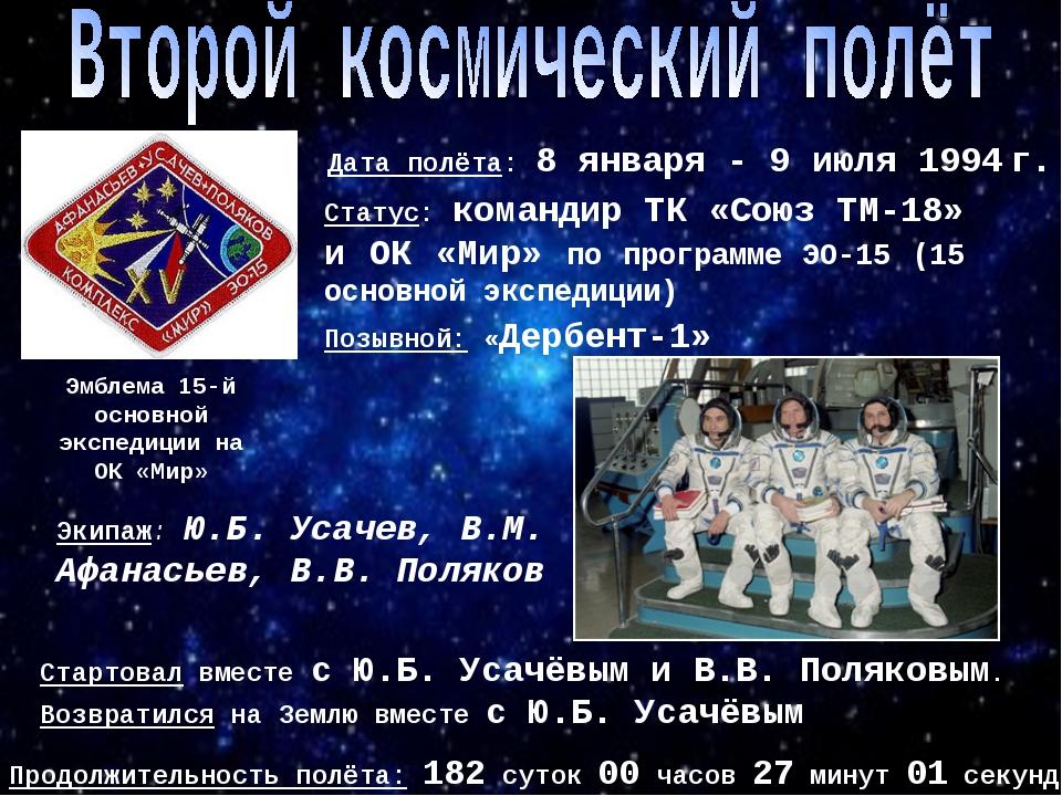 Эмблема 15-й основной экспедиции на ОК «Мир» Позывной: «Дербент-1» Дата полёт...