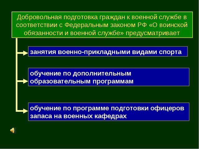 Добровольная подготовка граждан к военной службе в соответствии с Федеральным...