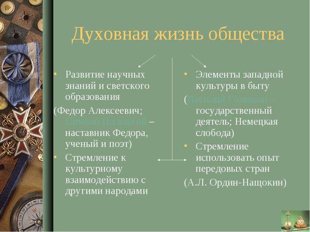 Духовная жизнь общества Развитие научных знаний и светского образования (Федо...