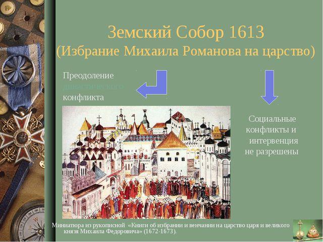 Земский Собор 1613 (Избрание Михаила Романова на царство) Преодоление династи...