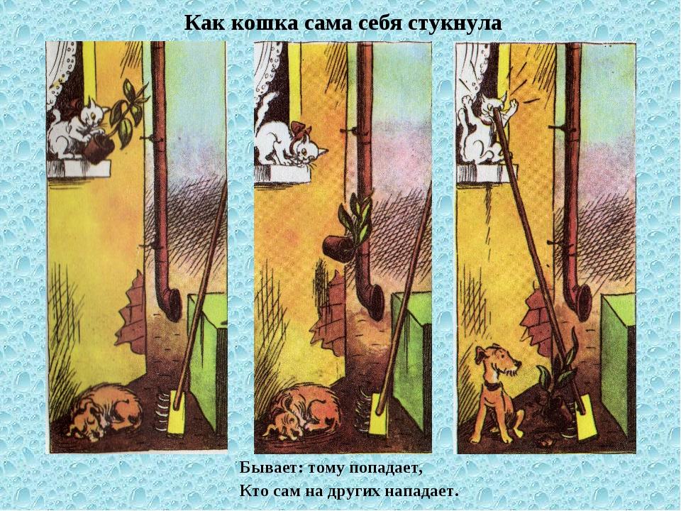 Как кошка сама себя стукнула Бывает: тому попадает, Кто сам на других нападает.