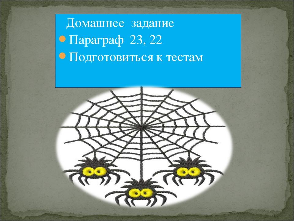 Домашнее задание Параграф 23, 22 Подготовиться к тестам