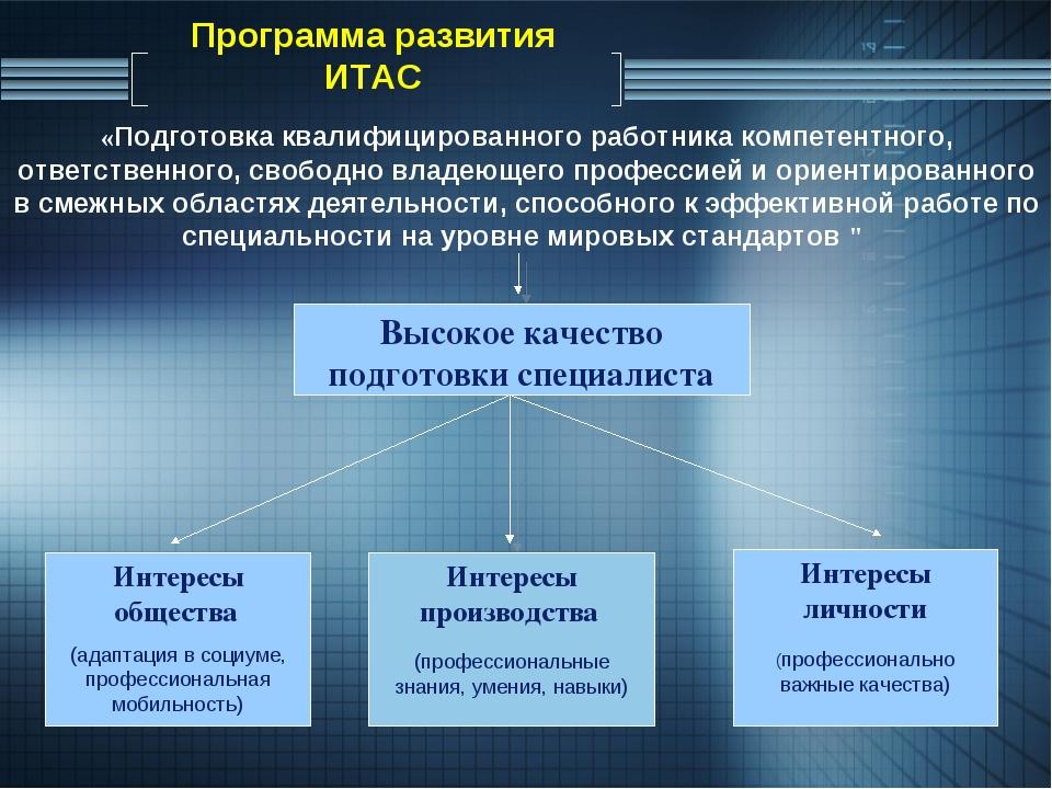 Программа развития ИТАС Высокое качество подготовки специалиста Интересы обще...