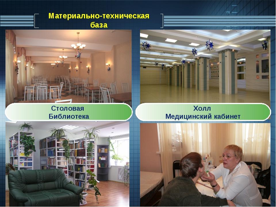Материально-техническая база Столовая Библиотека Холл Медицинский кабинет