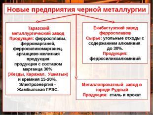 Новые предприятия черной металлургии Таразский металлургический завод Продукц