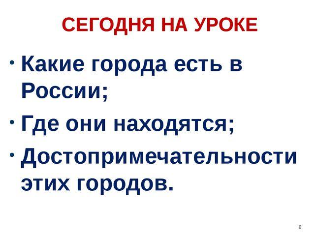 СЕГОДНЯ НА УРОКЕ Какие города есть в России; Где они находятся; Достопримечат...