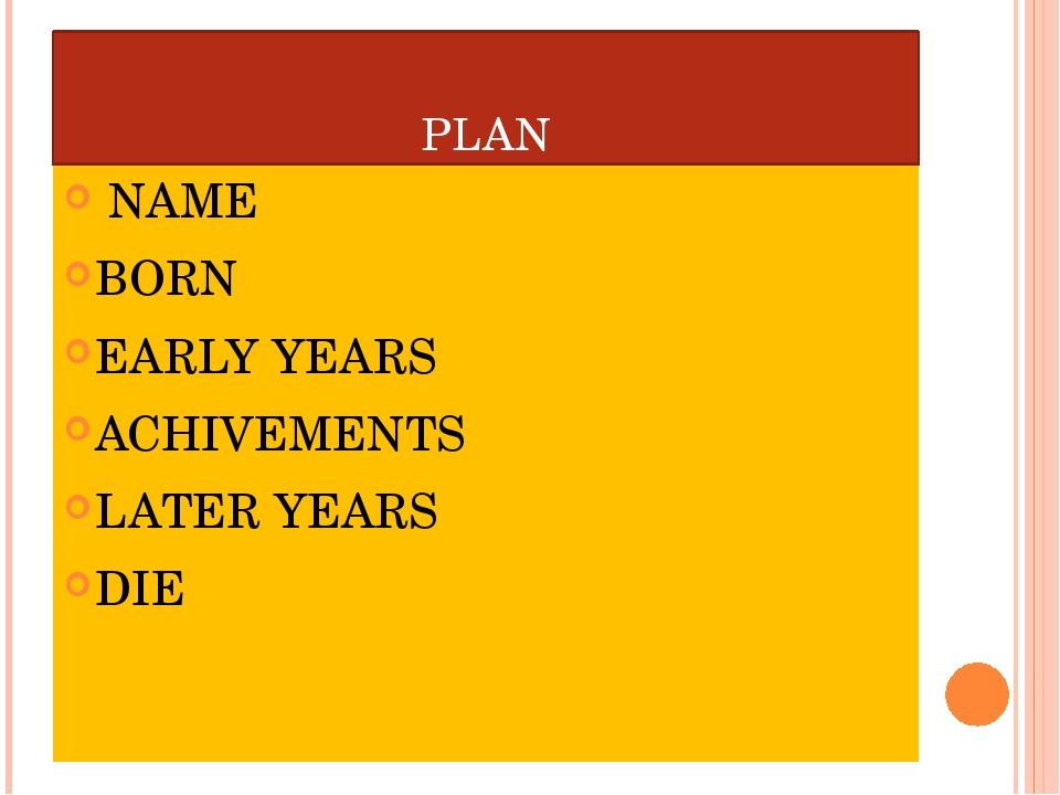 PLAN NAME BORN EARLY YEARS ACHIVEMENTS LATER YEARS DIE