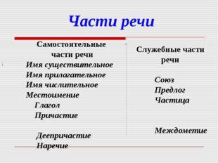 Части речи : Самостоятельные части речи Имя существительное Имя прилагат