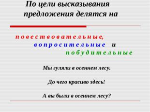 По цели высказывания предложения делятся на п о в е с т в о в а т е л ь н ы