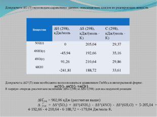 Для расчета ∆G (Т) используем справочные данные, описывающие каждое из реагир