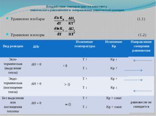 Воздействие температуры на константу химического равновесия и направление хим