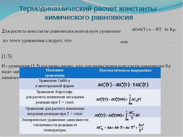 Термодинамический расчет константы химического равновесия Для рaсчета констан...