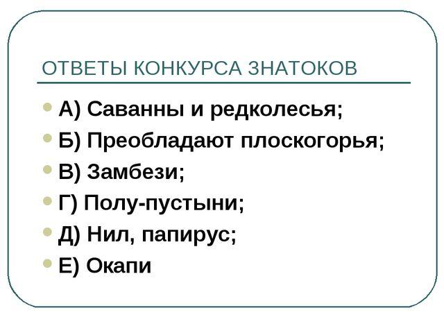 ОТВЕТЫ КОНКУРСА ЗНАТОКОВ А) Саванны и редколесья; Б) Преобладают плоскогорья;...