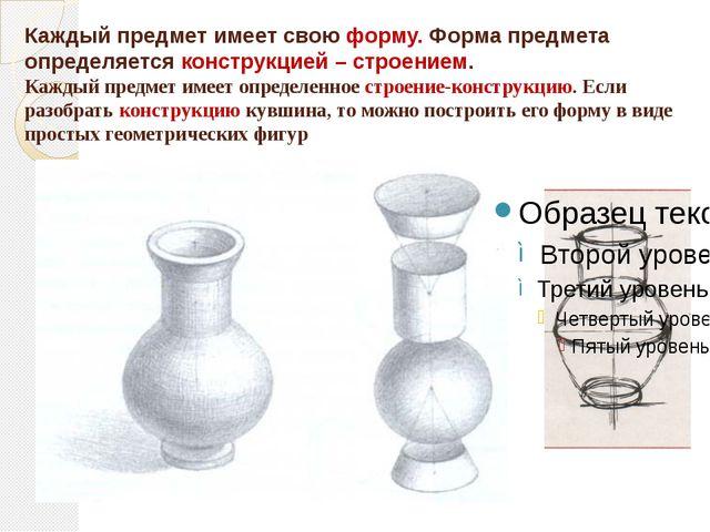 Каждый предмет имеет свою форму. Форма предмета определяется конструкцией – с...