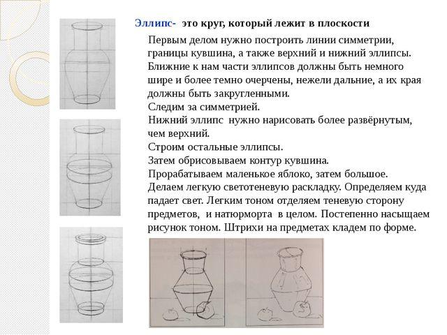Первым делом нужно построить линии симметрии, границы кувшина, а также верхн...