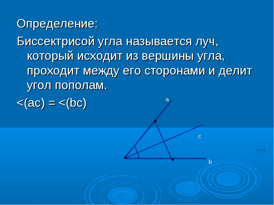 Определение: Биссектрисой угла называется луч, который исходит из вершины угл...