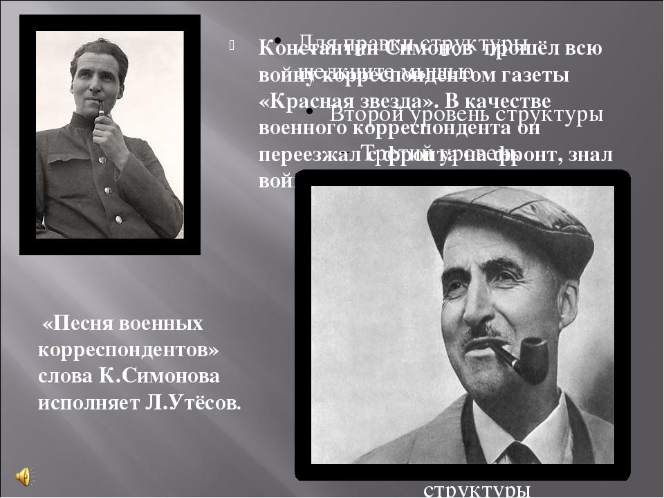 Константин Симонов прошёл всю войну корреспондентом газеты «Красная звезда»....