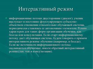 Интерактивный режим информационные потоки двусторонние (диалог), ученик высту