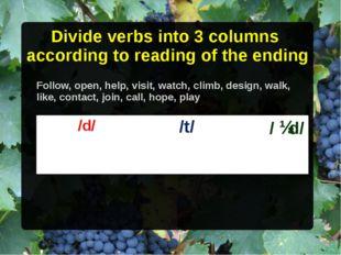 Divide verbs into 3 columns according to reading of the ending Follow, open,