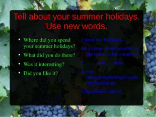 Tell about your summer holidays. Use new words. Where did you spend your summ