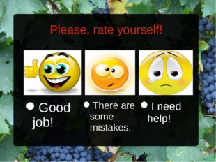 Please, rate yourself! I need help! There are some mistakes. Good job!