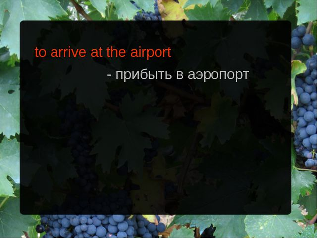 to arrive at the airport - прибыть в аэропорт
