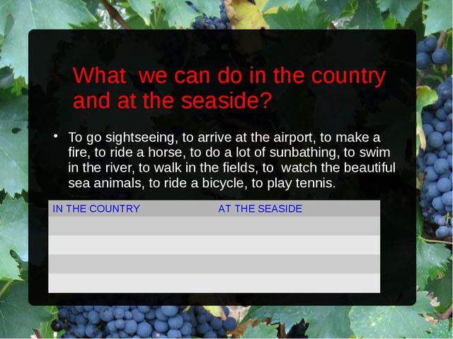 What we can do in the country and at the seaside? To go sightseeing, to arriv...