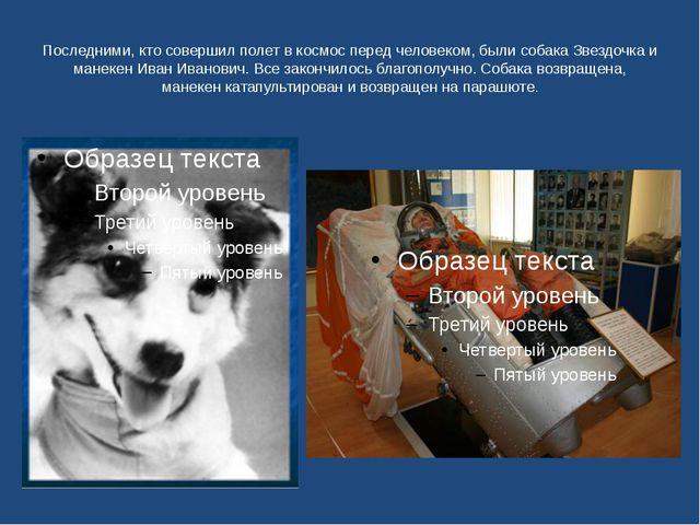 Последними, кто совершил полет в космос перед человеком, были собака Звездочк...
