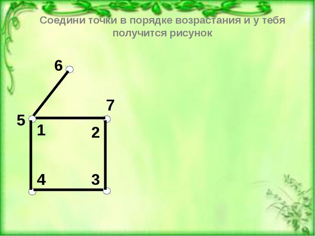 3 4 6 1 2 7 5 1 2 3 4 5 6 7 Соедини точки в порядке возрастания и у тебя пол...