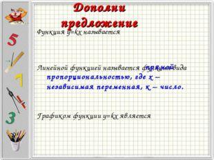 Функция y=kx называется Линейной функцией называется функция вида Графиком фу