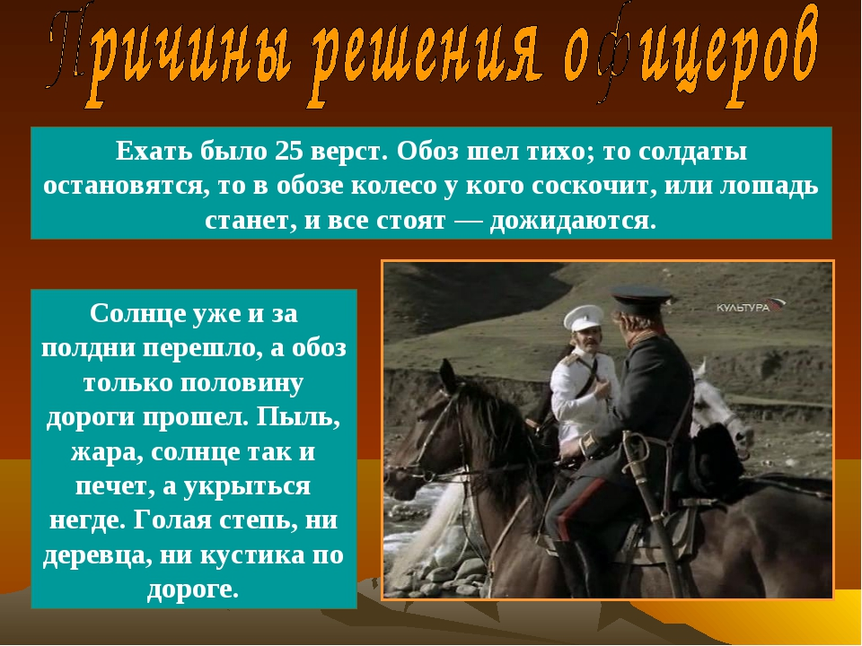 Ехать было 25 верст. Обоз шел тихо; то солдаты остановятся, то в обозе колесо...