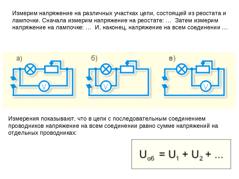 Измерим напряжение на различных участках цепи, состоящей из реостата и лампоч...