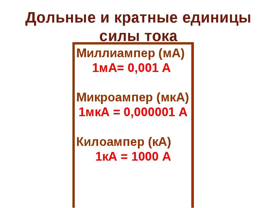 Дольные и кратные единицы силы тока Миллиампер (мА) 1мА= 0,001 А Микроампер (...