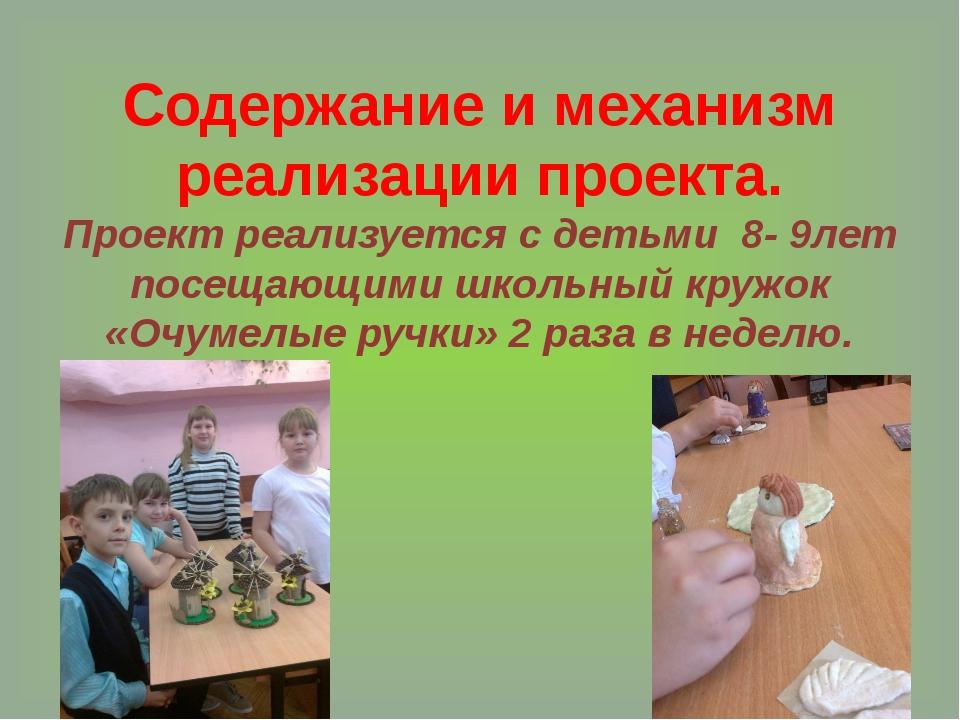 Содержание и механизм реализации проекта. Проект реализуется с детьми 8- 9лет...