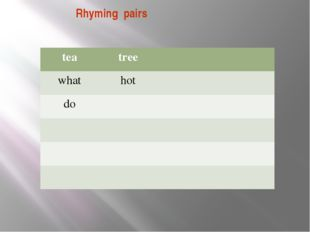 Rhyming pairs tea tree what hot do